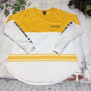 Rue 21 Yellow White Long Sleeve Top Sz M